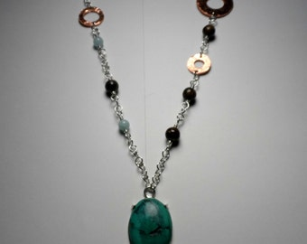 Turquoise Cabochon w/ Aquamarine - Bronzite & Hammered Copper on .925 Sterling Silver Chain Link BoHo Necklace