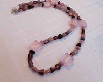 Pink Beaded Necklace, Focal Beads Necklace