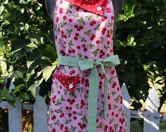 Cherries Apron, Full Apron, Red Cherries Apron, Pink Apron, Women's Apron, Vintage Style Apron, Retro Apron, GladstoneCottage