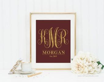 CUSTOM Name, Monogram Print, Gold Monogram, Personalized Gift, Monogram Letters, Name Print, Wedding Gift, Anniversary Gift, Wall Art