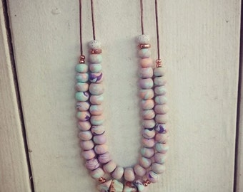 Pastel Polymer Clay Necklace with Copper Accents - (one or two strand).