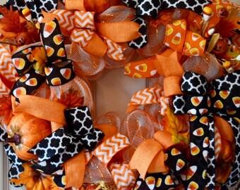 Orange, White and Black Candy Corn Mesh Wreath with Pumpkins; Large Fall Mesh Wreath; Halloween Decor Halloween Pumpkins; Handmade Wreath