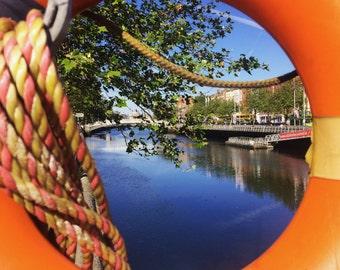 Dublin Photograph, Ha'penny Bridge taken from O'Connell Street, Ireland Photography, River Liffey