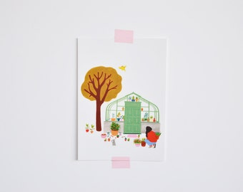 Postcard - woman in the garden
