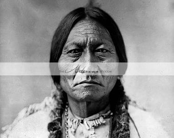 Instant Download - Antique Portrait of Sitting Bull Native Indian Chief - Paper Crafts Altered Art - Antique Photograph - Native American