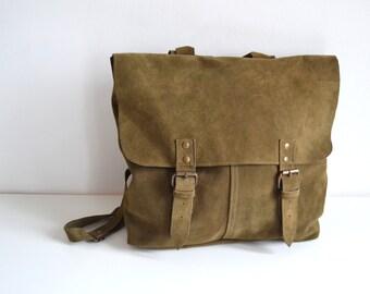 Vintage Style Leather Messenger Backpack Olive