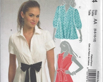 McCall's 5664 Sewing Pattern for Flared Blouses, Sizes 6 8 10 12, Uncut