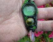 Woodland Witch Pendulum with Rose Aura Quartz
