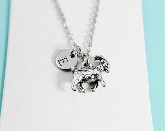 Aries Necklace Ram Necklace  Aries Ram Animal Zodiac Constellation Jewelry with Personalized Initial Necklace Monogram Custom Jewelry