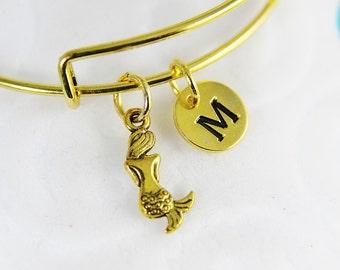 Gold Mermaid Charm Bangles, Gold Mermaid Charm Bracelet, Mermaid Charm with Personalized Initial Charm on Expandable Bangles