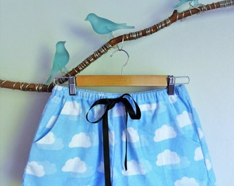 Soft, comfortable light blue pyjama shorts with cloud pattern and ruffles made in Sydney, Australia
