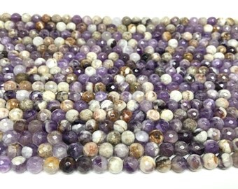 6mm Faceted Sage/Flower Amethyst Genuine Gemstone Full Strand (65 Round beads)
