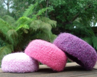 Pretty Pink & Purple Felted Wool Mini Nesting Bowls - set of 3