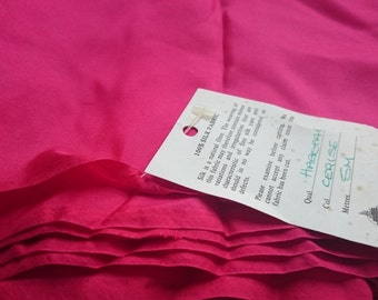 Pure Silk Cerise Vintage Fabric Material - Maison Henry Bertrand - 2.12m long - New and Unused and Pure Vintage from 1980s Stock