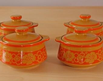 Vintage set of  floral onion soup bowls
