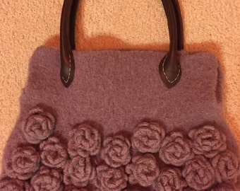 Hand Knitted and Felted Purse