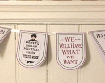 Suffragette Bunting // Garland Feminist Votes Women Decoration handmade