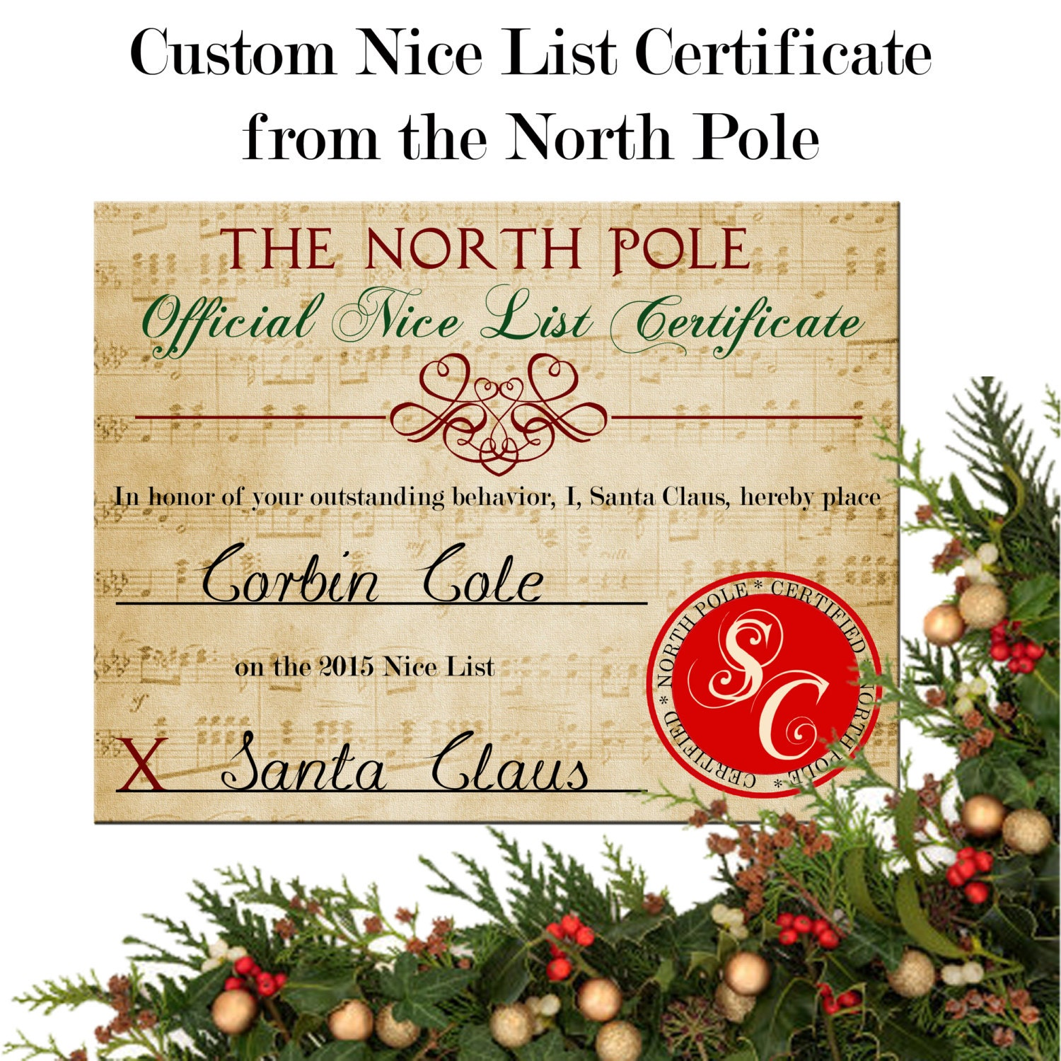 Nice list certificate personalized from santa xflitez Gallery