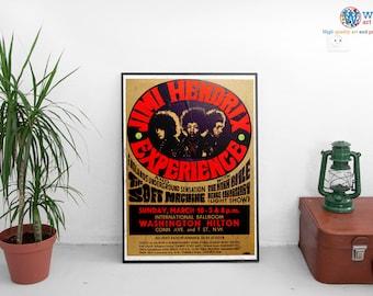 Jimi Hendrix Billboard Gig Poster / Print - Washington Hilton - Retro Vintage Authentic
