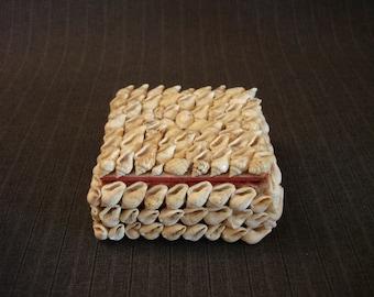 Handmade Shell Box, Red Interior, Not Made of Teeth [Vintage]