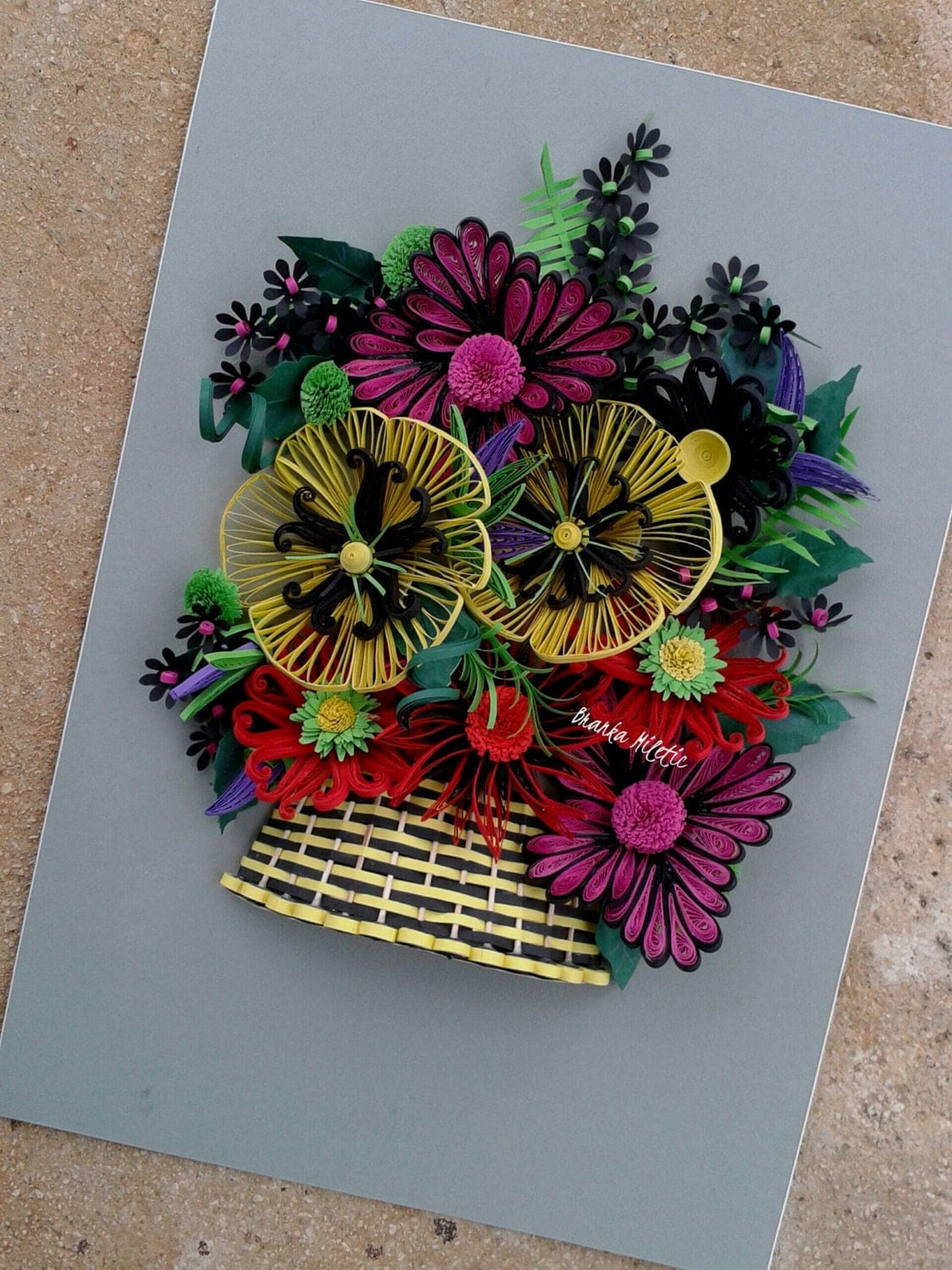 Colorful Flower Basket Paper Wall Decoration 3d Quilled Multicolor