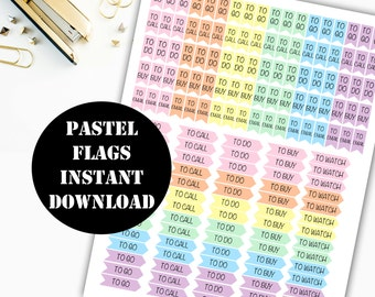 Pastel Task Flags Printable Planner Stickers / Erin Condren Life Planner / Kikki / Plum Paper Planner / Midori Insert / Planner Insert 00130