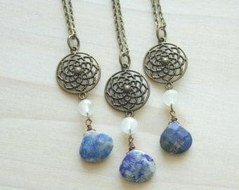 Lapis Long Necklace - Blue Pendant, White, Gemstone Necklace, Boho Necklace, Flower Pendant, Denim Stone, Bohemian Necklace, Women's Fashion