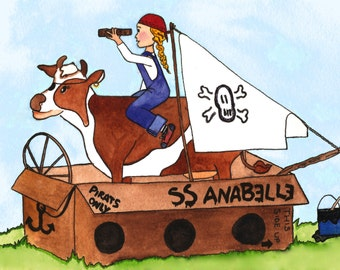 Pirate cow watercolor print, Pirate girl and cow print
