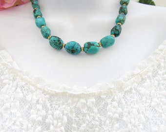Genuine Turquoise Necklace, Gemstone Necklace, Turquoise Jewelry, Beaded Necklace, Gift
