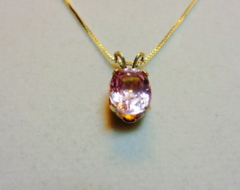 3.3ct. Kunzite 9.5 x 7.5mm Oval Pendant on a 16 inch Silver Chain