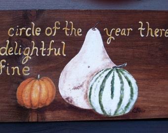 """Fall Gourds & Pumpkin Rustic Wooden Sign, Autumn Decor, Hand painted, Garden Art, 24"""" x 9"""""""