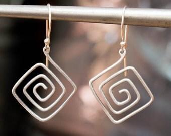 Ancient greek earrings, Sterling silver earrings, Wire earrings, Greek jewelry, Greek earrings, Meander earrings,Spiral earrings, Geometric