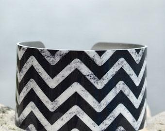 Chalkboard Chevron Cuff, Geometric Cuff, Black and White Chevron Cuff, Adjustable Metal Cuff, Custom Printed Cuff Bracelet, Doodle Art Cuff