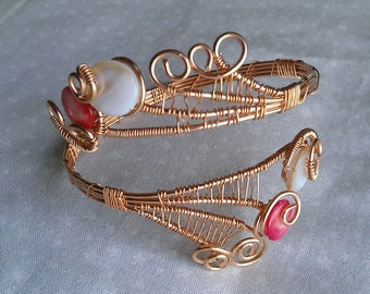 wire wrapped bracelet, mother of pearl bracelet , bronze bracelet , handmade jewelry