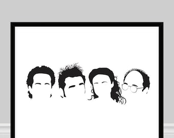 Seinfeld Print, Seinfeld Poster, Minimalist Portrait Art, Seinfeld Silhouettes, 1990s TV Show