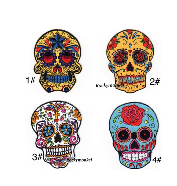 Sugar Skull Patch Embroidered patch Iron on patch by ...