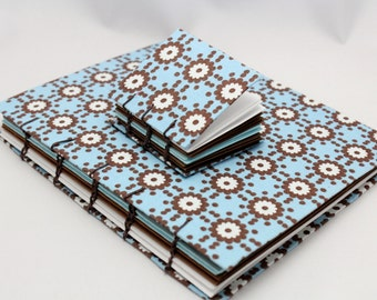 Handbound Journal Set with Blue and Brown Flowers