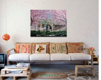 """Large Original Acrylic Painting, """"Pink Blossom"""", Modern, Contemporary Wall Art, 40 x 30 inches"""