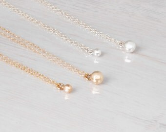 Gold necklace, Small Ball Necklace, gold bead necklace, minimalist gold necklace, Gold Layer necklace, Delicate Gold Necklace, Thin Necklace