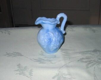 Avon 1978 Blue Slag Glass Pitcher