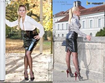C+K Leatherskirt, PVC skirt with metal zipper, super shiny, stretchable, new handmade