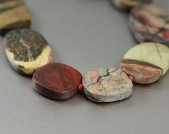 Stone Apple Jasper Ovals 22x22mm to 22x35mm