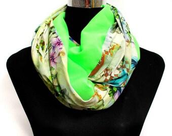 Loop scarf neon bicolor - colorful scarf - flower scarf - fabric scarf - neon scarf - infinity scarf - neon flower scarf - gaudy scarf