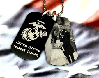 Custom engraved US Marine Corp (USMC) dog tag necklace - engraved military dog tag - personalized military dog tag