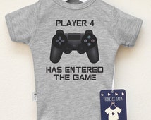 Player 4 Has Entered The Game. Gamer Baby Shirt. Geek Baby Clothes. Birth Announcement. Funny Video Games Baby Outfit. Cool Gift For Gamers