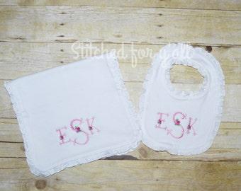 Scalloped monogram and roses baby girl bib and burp cloth set
