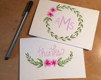 Pink Posies Hand-Painted Stationery Set of 10