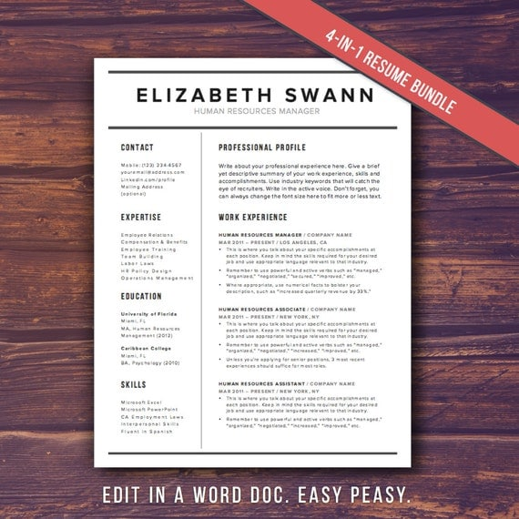 Resume Template Word + Free Cover Letter, CV Template, Teacher, Modern  Professional Resume Template Design, DIY Template Instant Download  Free Cover Letter Template Word