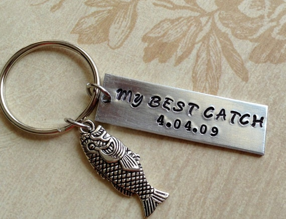 My Best Catch Anniversary Keychain Fish Lover Hand Stamped
