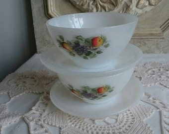 Vintage Arcopal Bowls, Pair of Cafe au Lait Bowls and Saucers,  French Breakfast Bowls with Fruits Design,